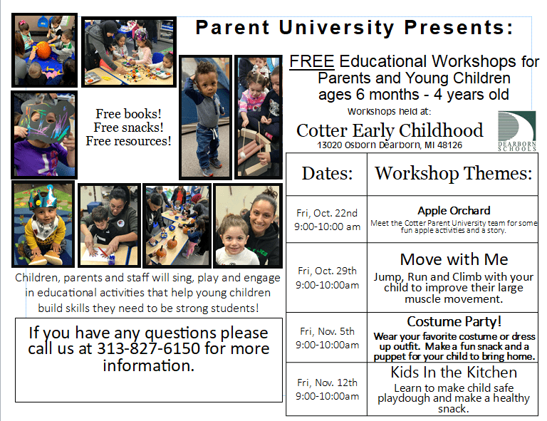 Parent University at Cotter Early Childhood Center this Friday from 9:00 a.m.-10:00 a.m.  This week's workshop theme is Move with Me!