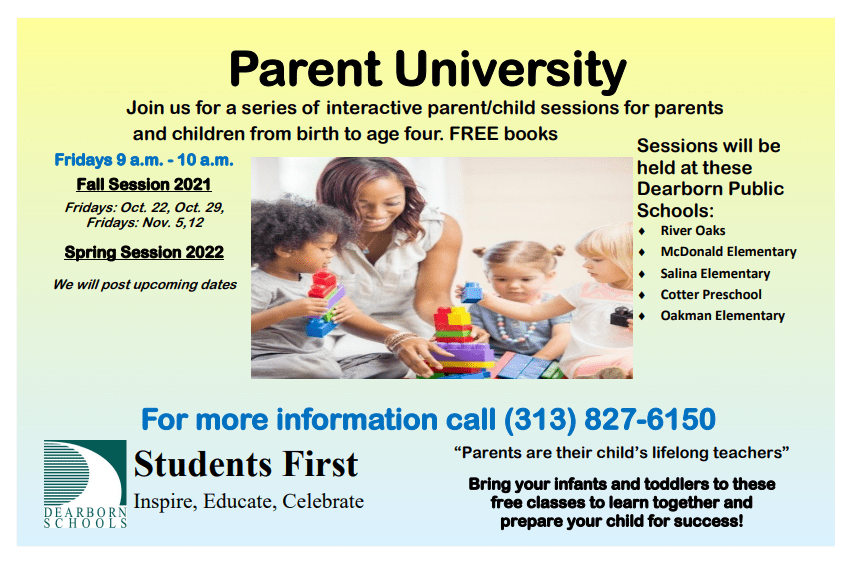 Parent University This Week Friday starting at 9:15 a.m. at Oakman Elementary, McDonald Elementary, Cotter Early Childhood Center, River Oaks Elementary and Salina Elementary